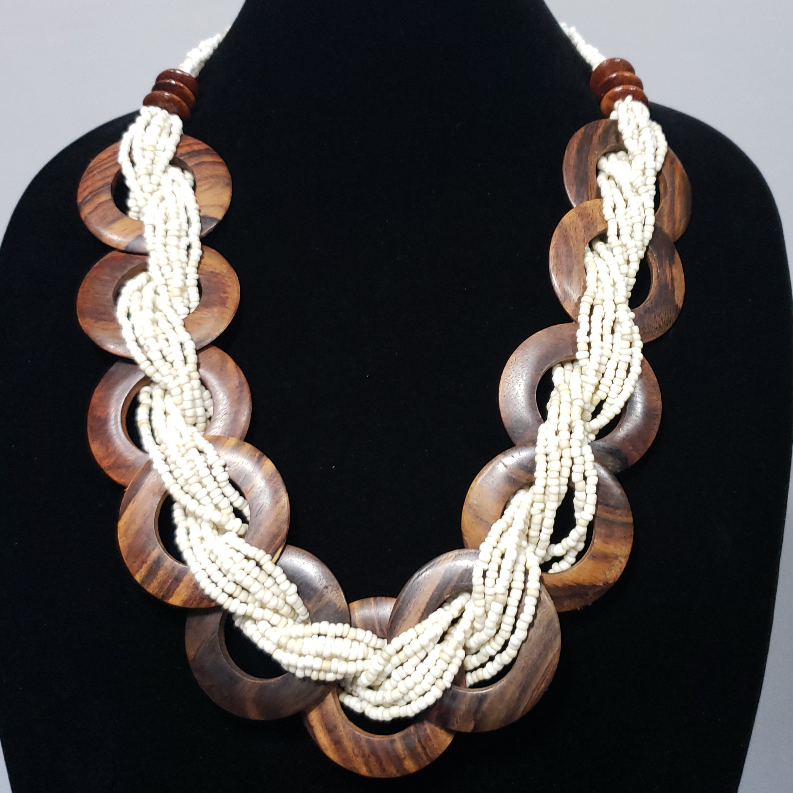 Braided Wooden Seed Bead Necklace in Cream and Chocolate Brown (20.00 In) - Houzz of DVA Boutique