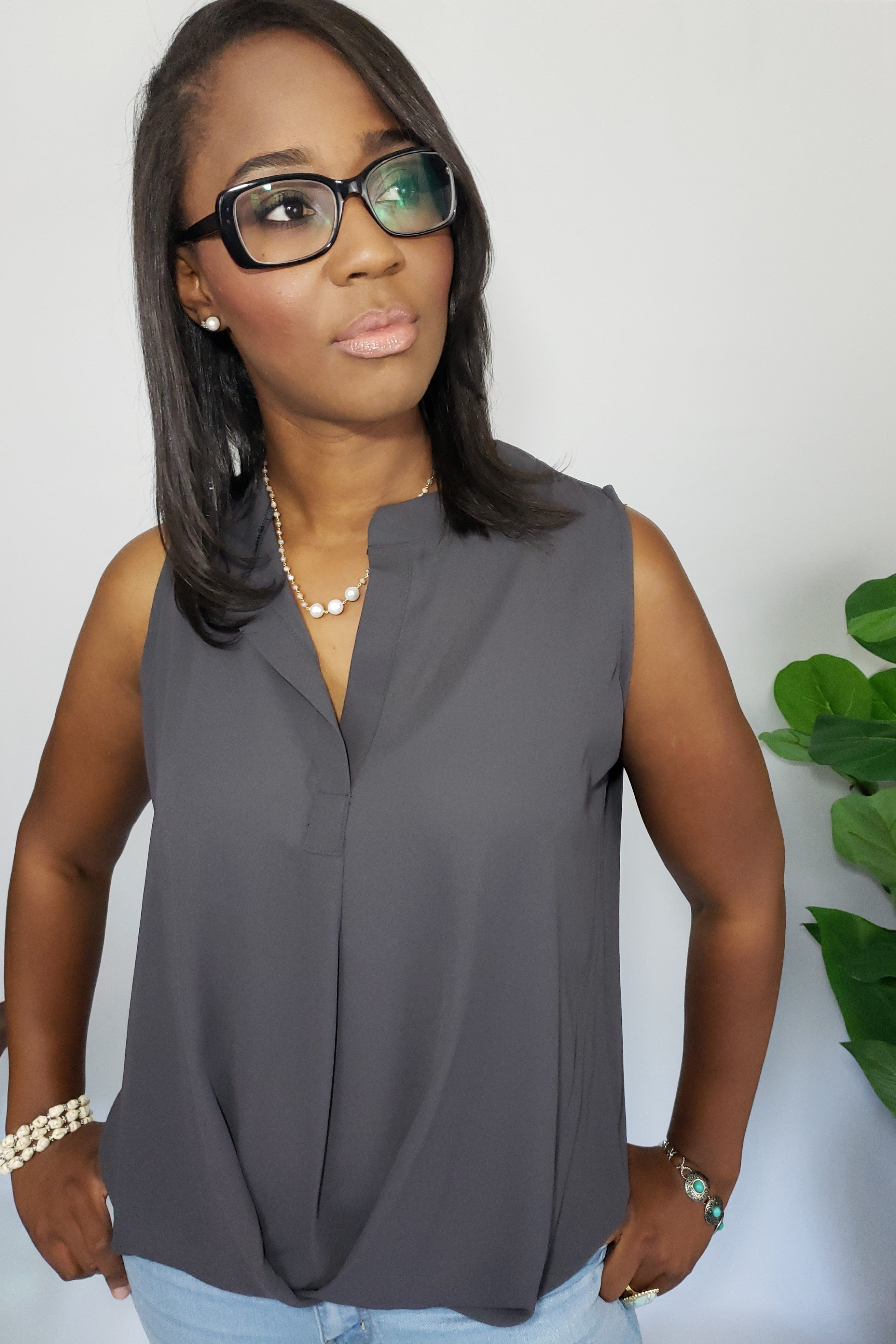 Taszeena Hi Low Split Neck Blouse in Dark Grey - Houzz of DVA Boutique