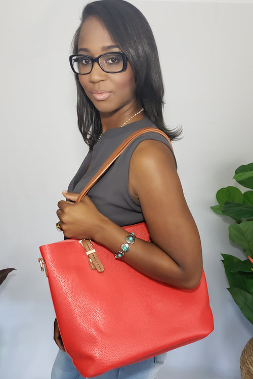 Miss-Dawn Red Vegan Leather Tote Bag with Removable Strap and Matching Pouch. - Houzz of DVA Boutique