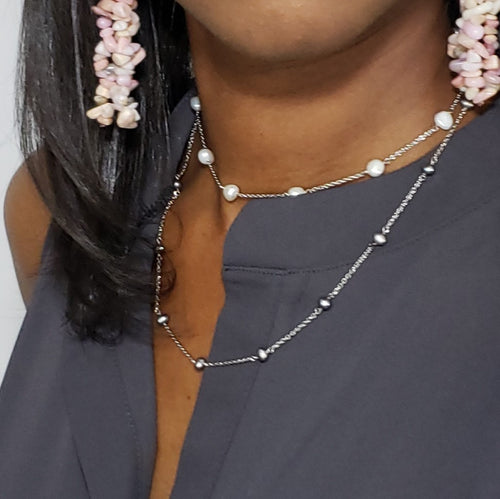 Black Freshwater Pearl Station Necklace (20 in) - Houzz of DVA Boutique