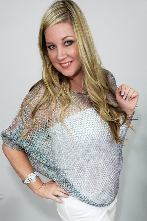 GIGI Iridescent Crochet Top in Silver - Houzz of DVA Boutique