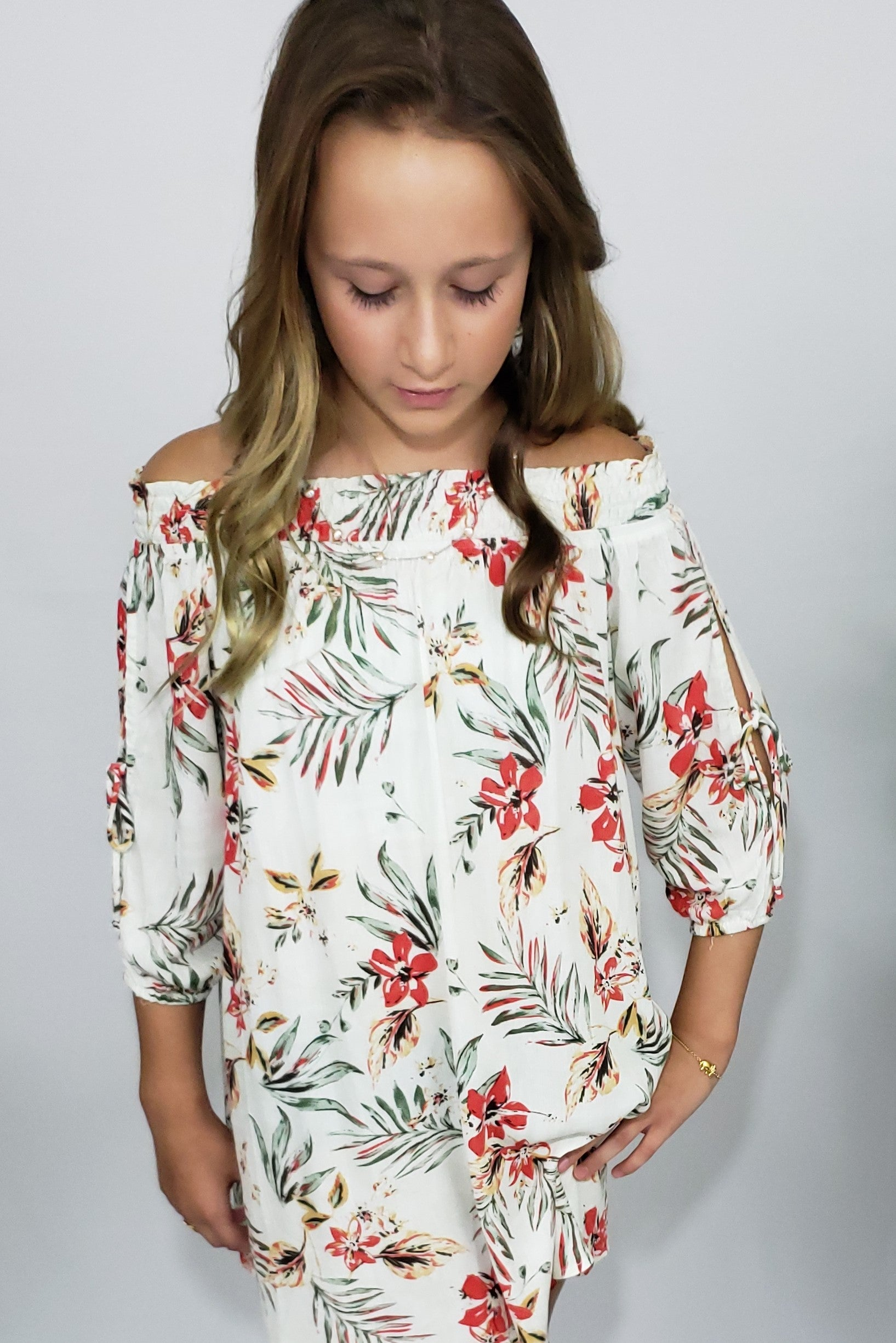 Kamryn Tropical Paradise Ivory Off-The Shoulder Dress - Houzz of DVA Boutique