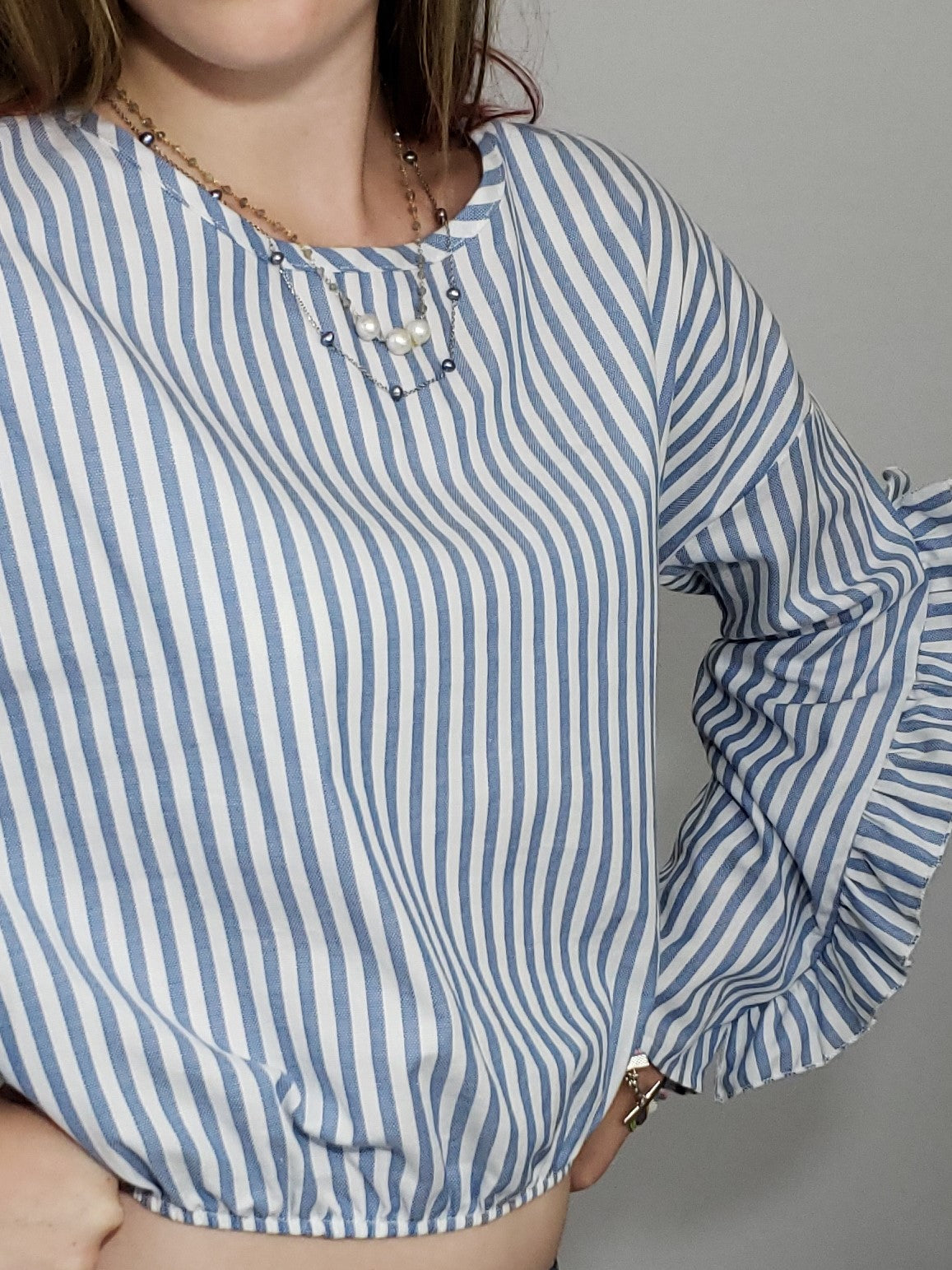 She's Got Flair Cut-Out Ruffle Sleeves Blouse - Houzz of DVA Boutique