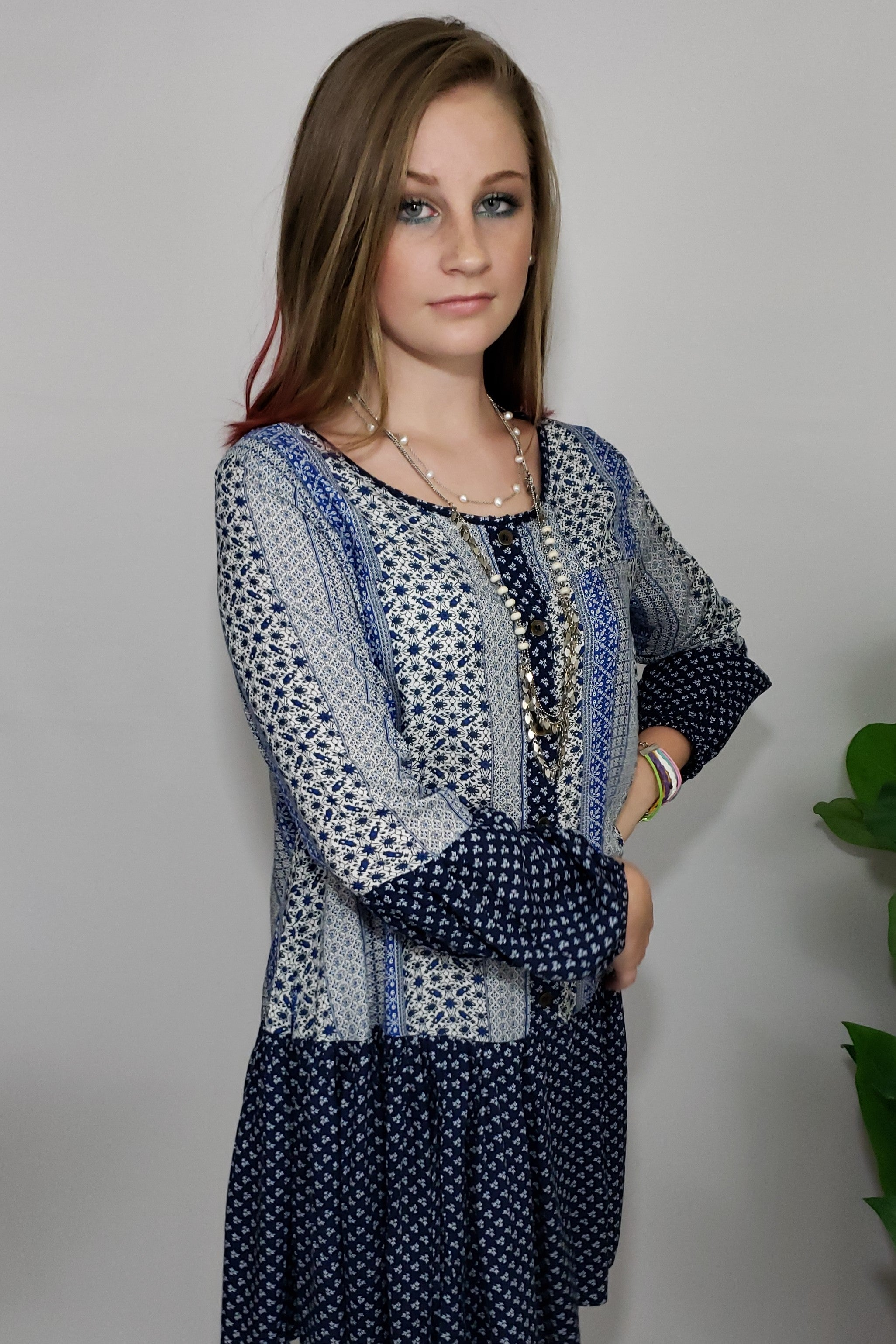 Mally Shades of Blooz Ruffle Button Down Contrast Tunic Dress - Houzz of DVA Boutique