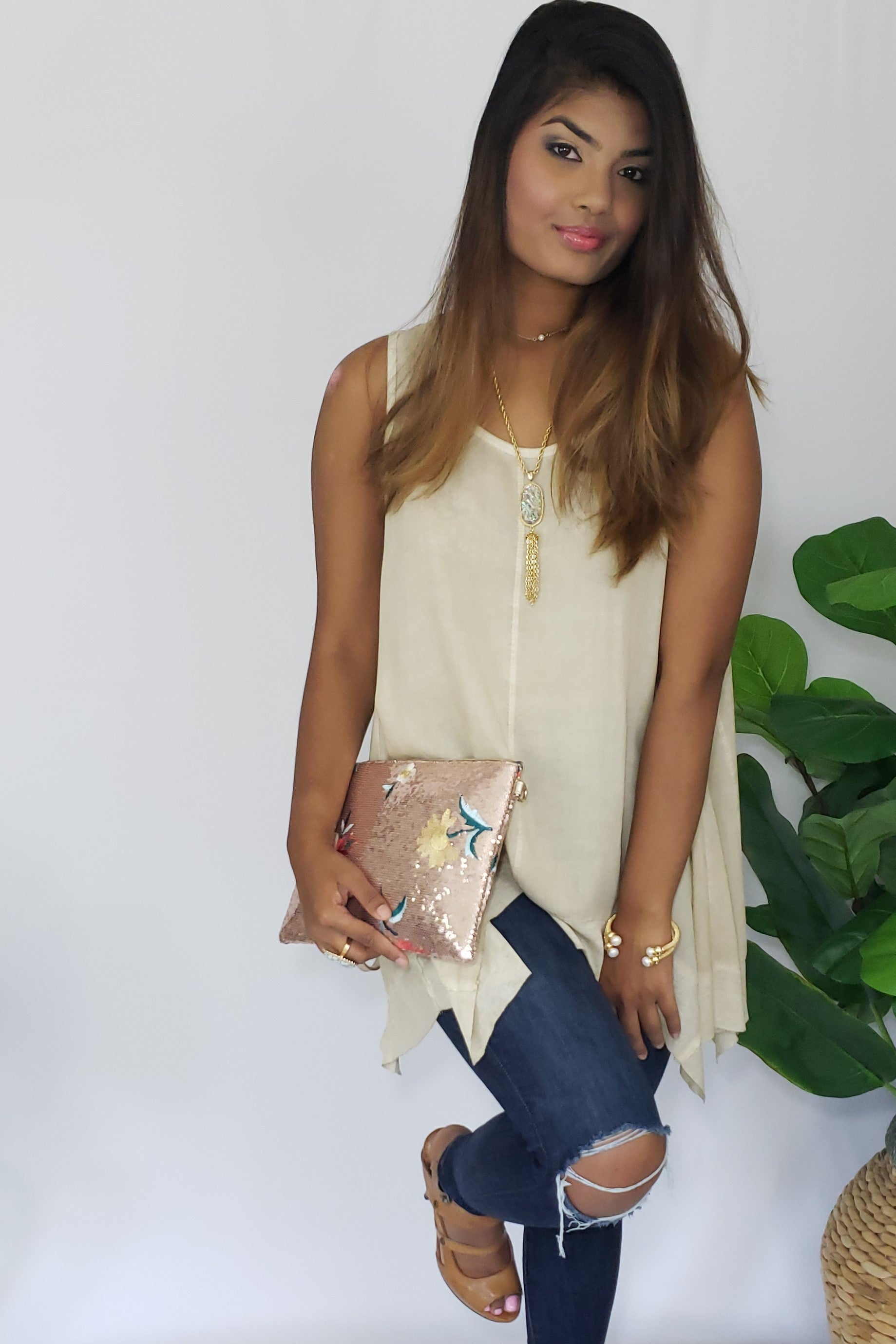 Celia- Was- Here Tank in Neutral Taupe - Houzz of DVA Boutique
