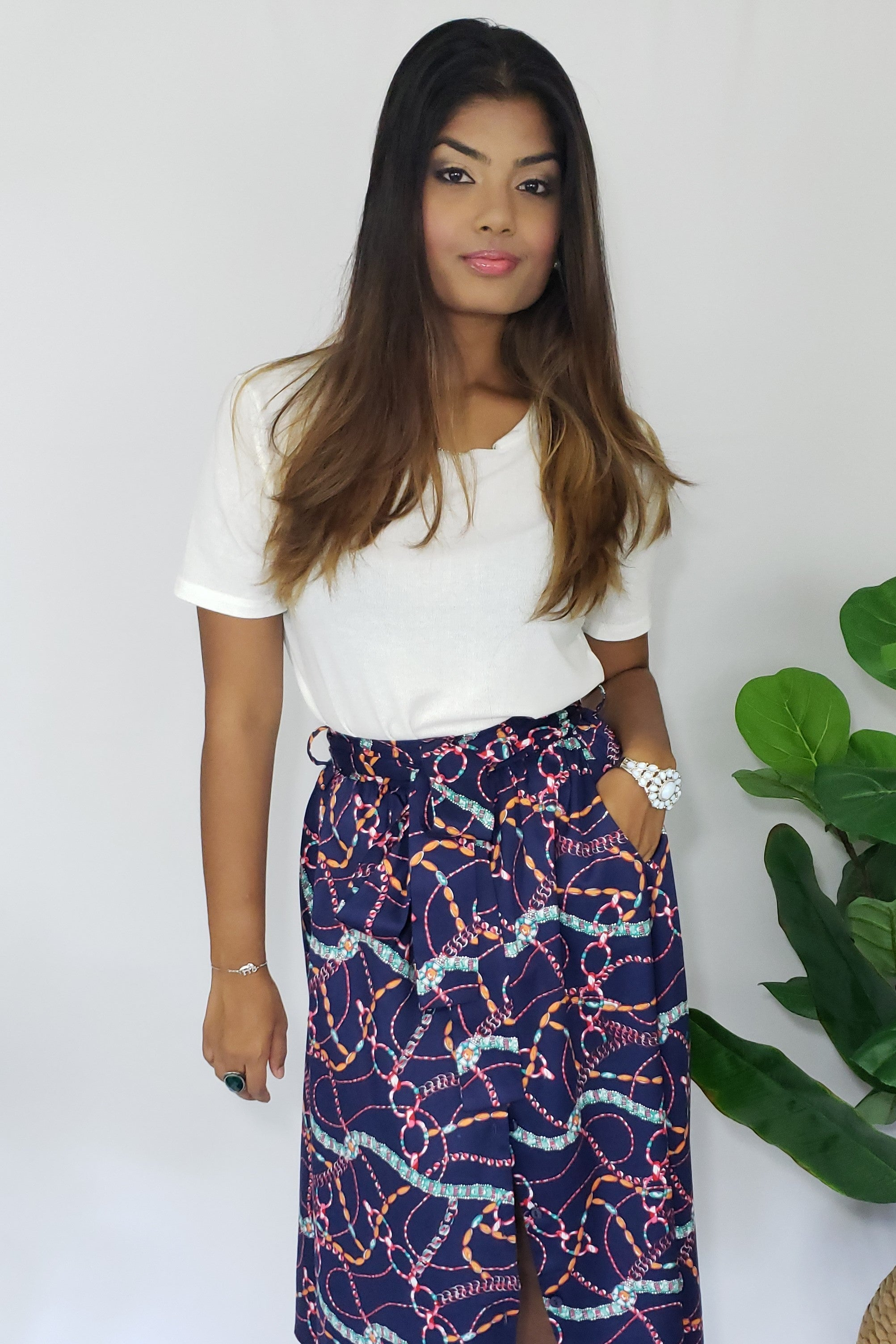 C-Robinson Ribbons in D-Ski Belted Midi Skirt in Navy Multi - Houzz of DVA Boutique