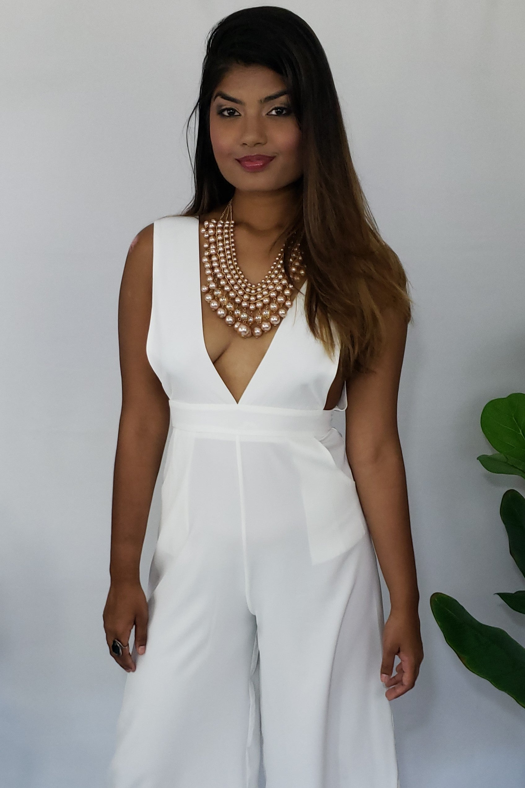 Prissy Priscilla Gaucho Open Back Sleeveless V Neck Jumpsuit in Off-White - Houzz of DVA Boutique