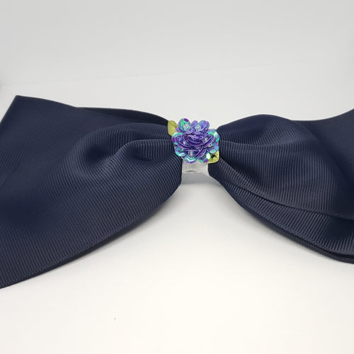 Makaya Bouquet of Flowers Jumbo Uniform Bow in Navy - Houzz of DVA Boutique