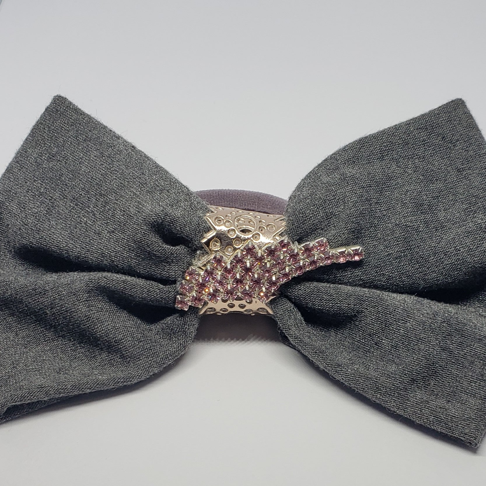 Victoriah Angel Wing Hair Bow in Pink & Dark Grey - Houzz of DVA Boutique