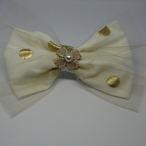 Kaelyn Freshwater Pearl Hair Bow in Cream & Gold Dots - Houzz of DVA Boutique