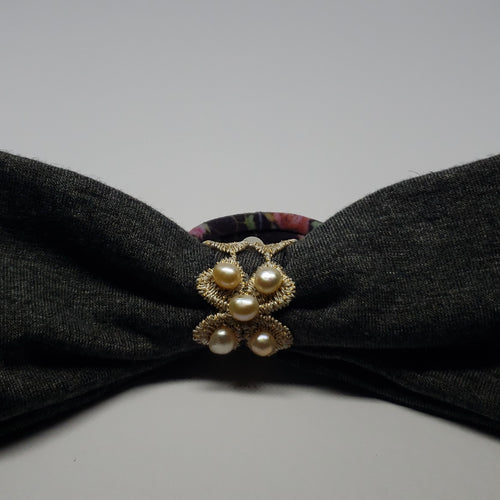 Victoriah Peach Freshwater Pearl Lace Hair Bow in Dark Grey & Plum Multi - Houzz of DVA Boutique
