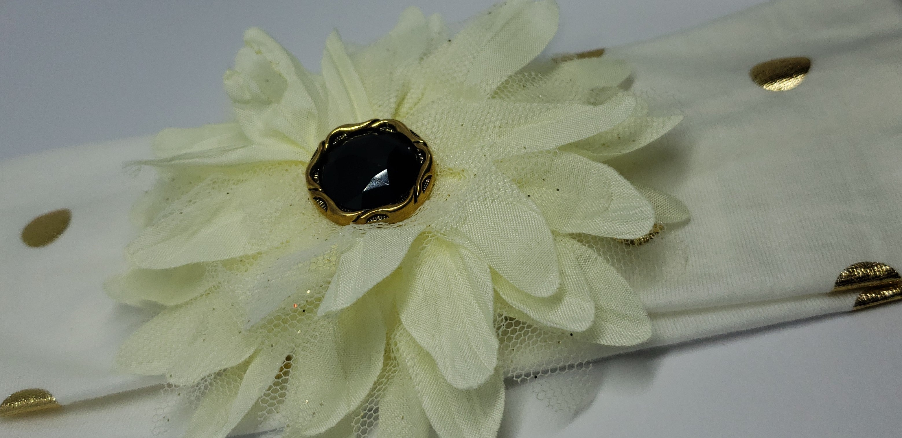 Mila Flower Power Stretch Headband in Off-White & Gold Foil Dots - Houzz of DVA Boutique