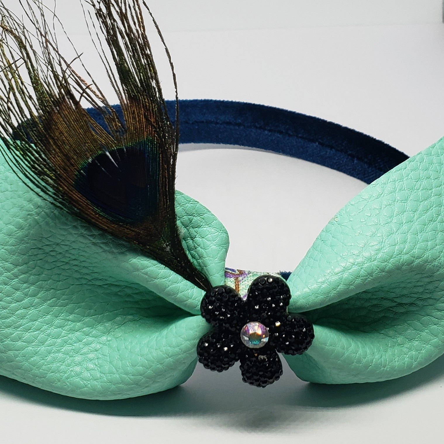 N-Zala Teal Velvet Headband with Mint Faux Leather & Swarovski Peacock Feather Bow - Houzz of DVA Boutique