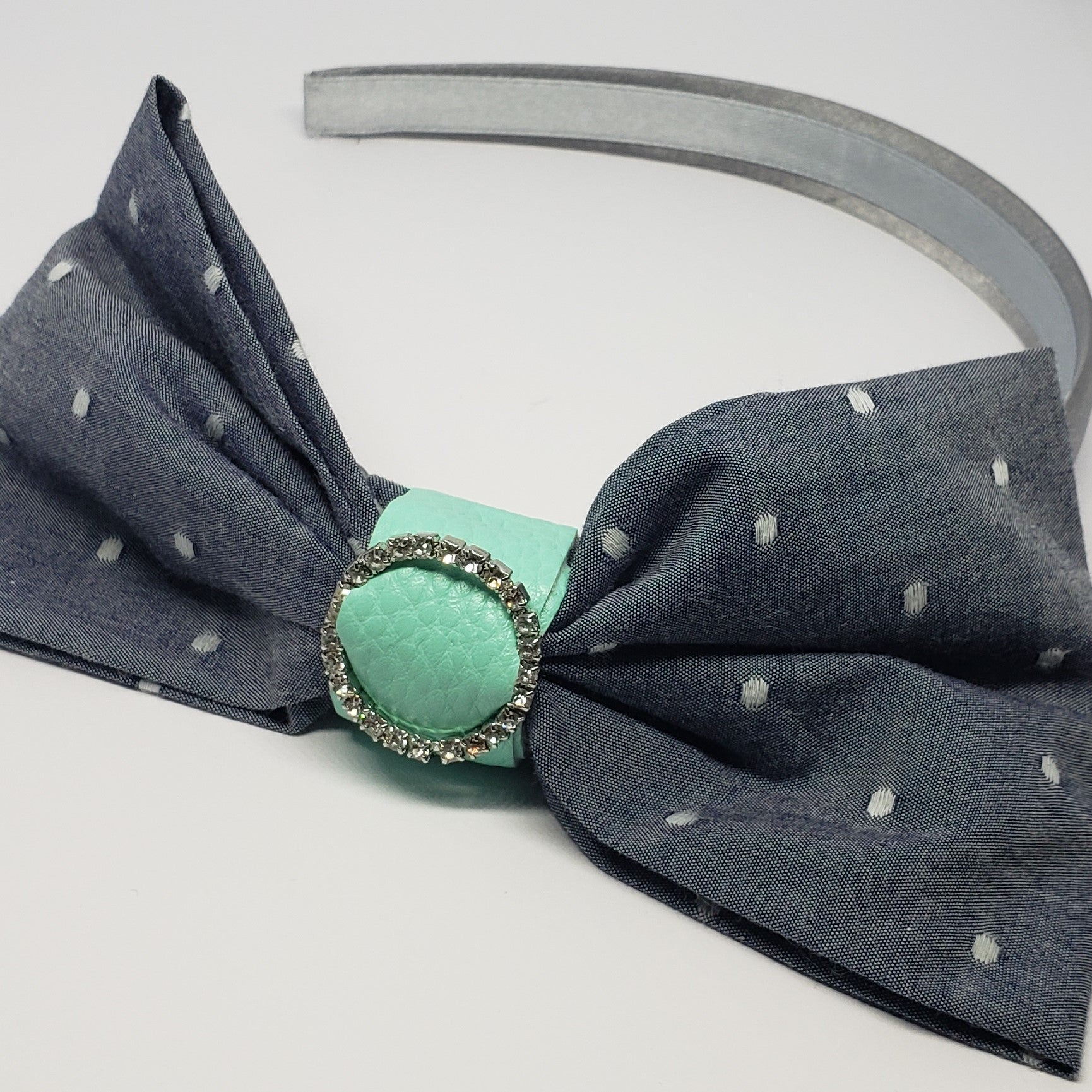 Mia Chambray Rhinestone Turquoise Buckle & Grey Headband - Houzz of DVA Boutique