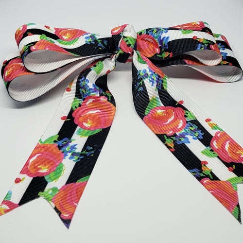 Mariah Floral Cheer Style Hair Bow in B&W/Pink Multi - Houzz of DVA Boutique