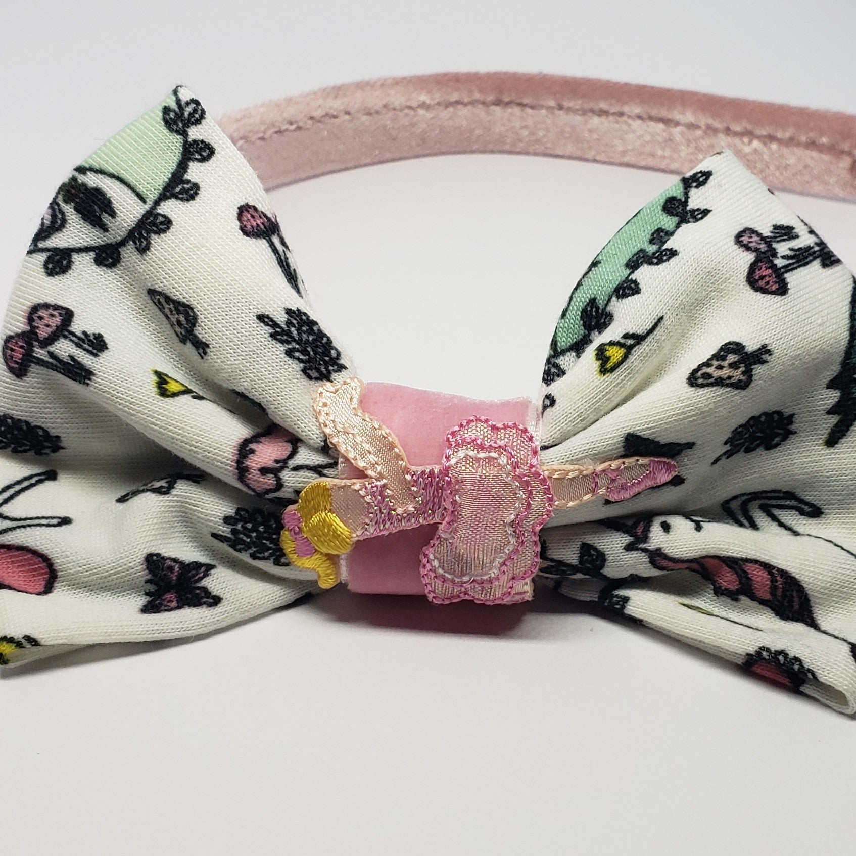 Karrington Pink Dancing Ballerina Velvet Unicorns & Butterflies Headband - Houzz of DVA Boutique