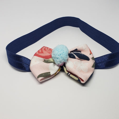 Sarai Mini Bow & Pompom Stretch Headband in Pink & Blue - Houzz of DVA Boutique