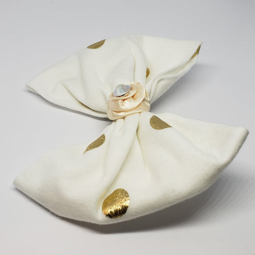 Kyleigh-Rosebud Plaid Ribbon & Swarovski Hair Clip in Cream & Gold - Houzz of DVA Boutique