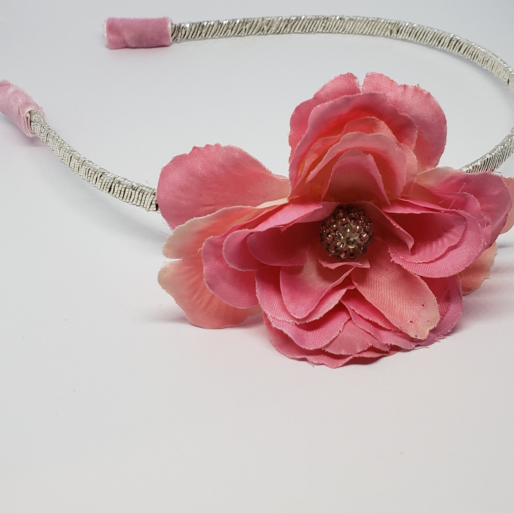 Mila Peachy Pink & Silver Blooming Rose Headband - Houzz of DVA Boutique