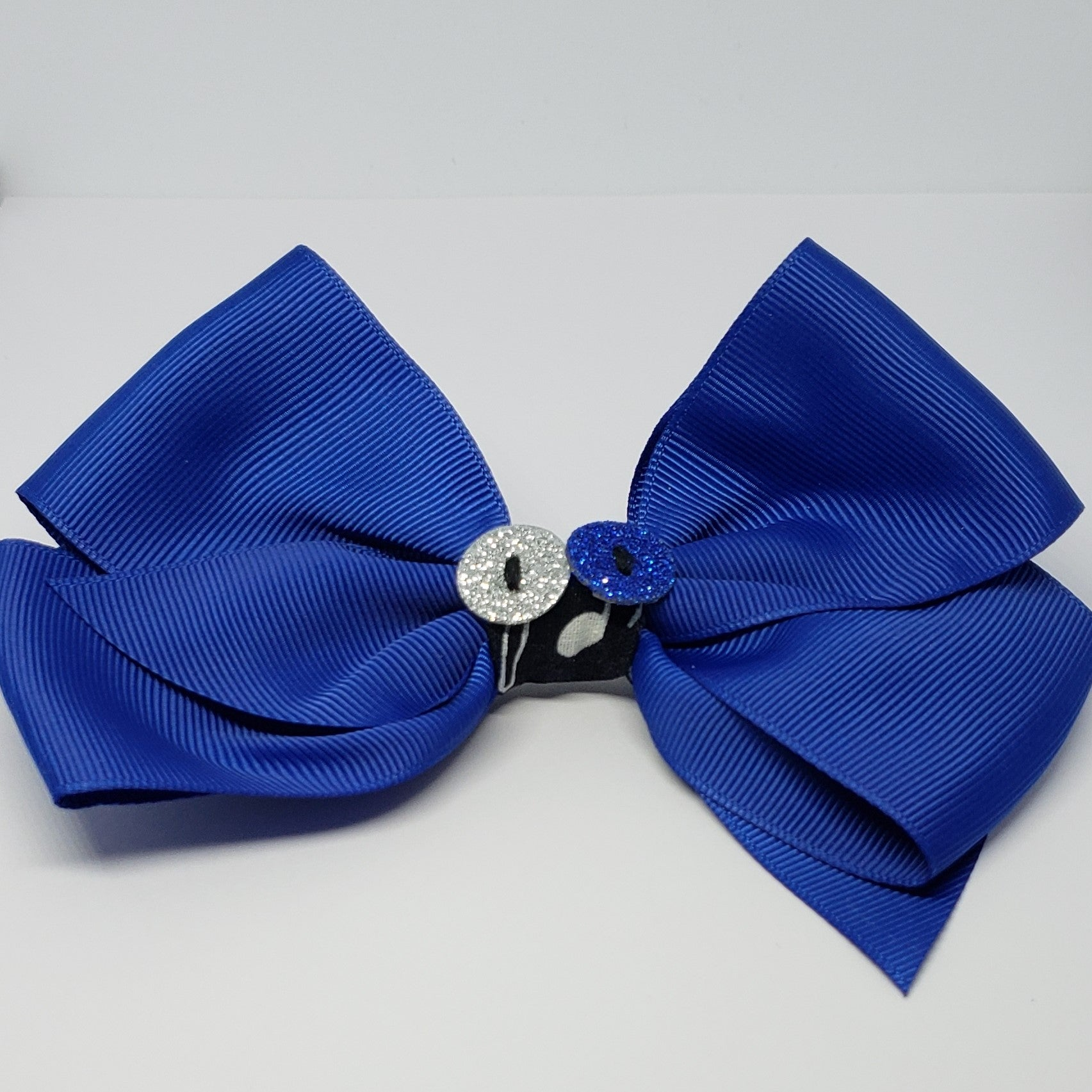 Kelsea Hairclip in Royal Blue & Black with Sparkle Button Detail - Houzz of DVA Boutique
