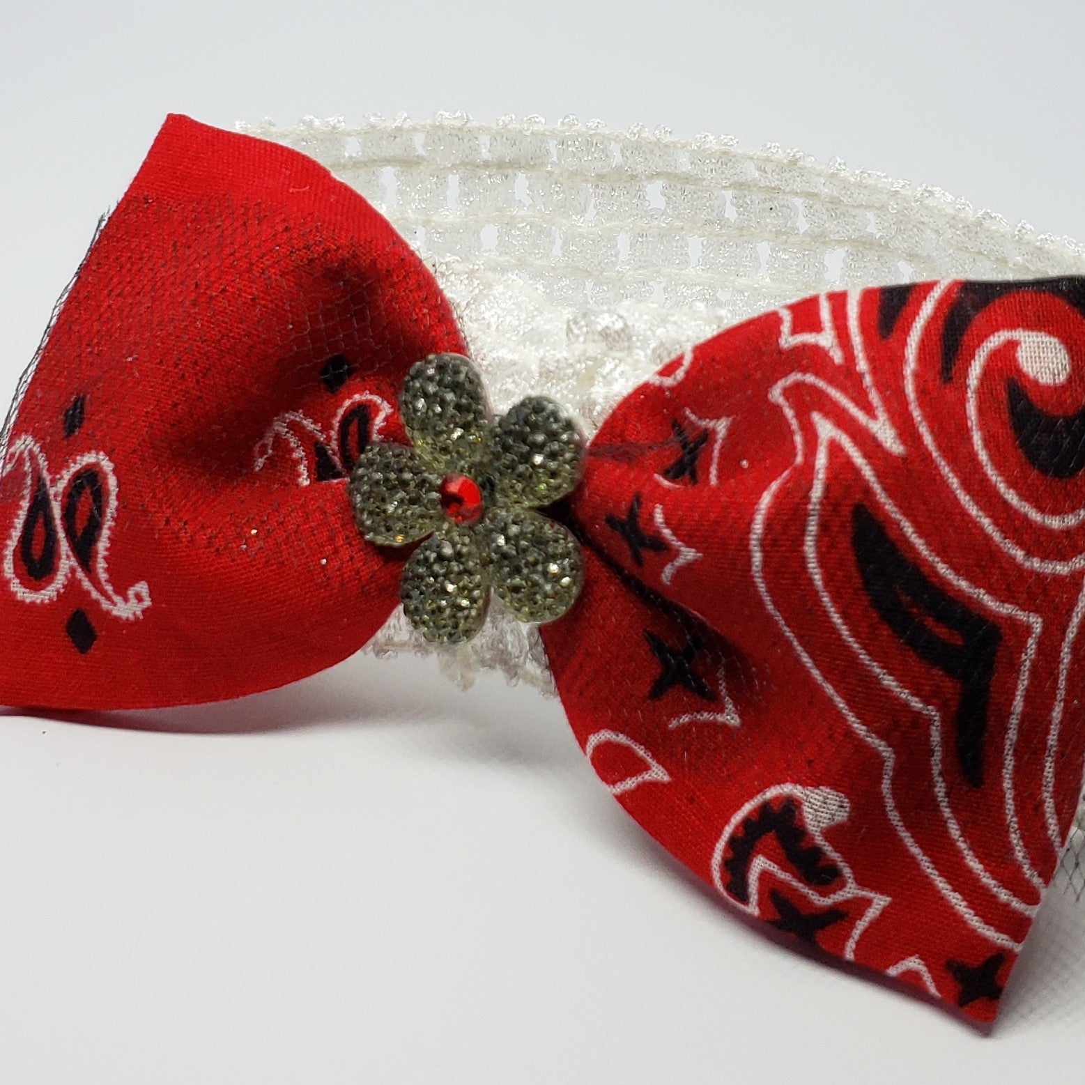 Cassidy-Dior Baby Swarovski Bandanna Crochet Headband in Red Black & White - Houzz of DVA Boutique