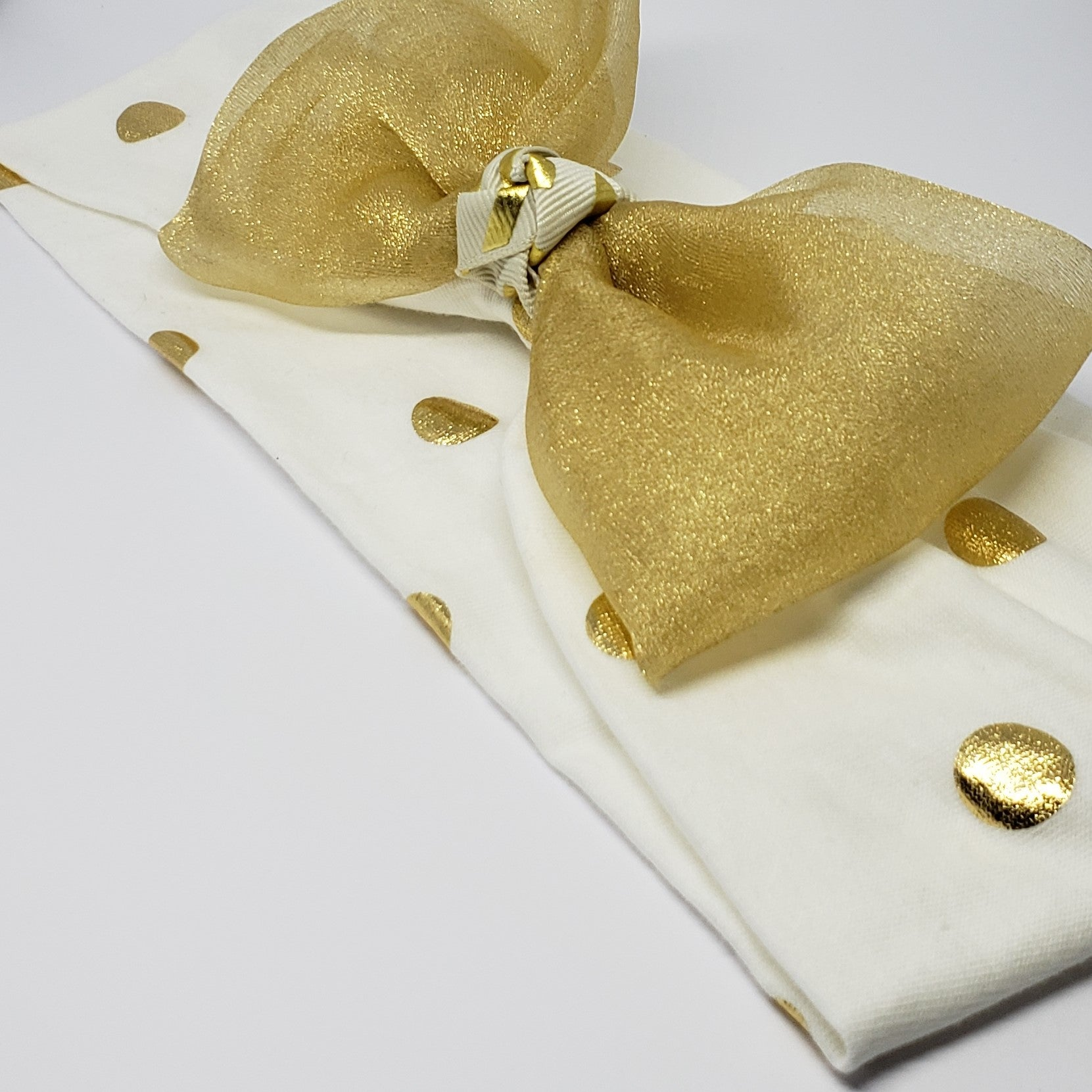 Kelsea Gold Rush Stretch Headband in Cream & Gold Foil - Houzz of DVA Boutique