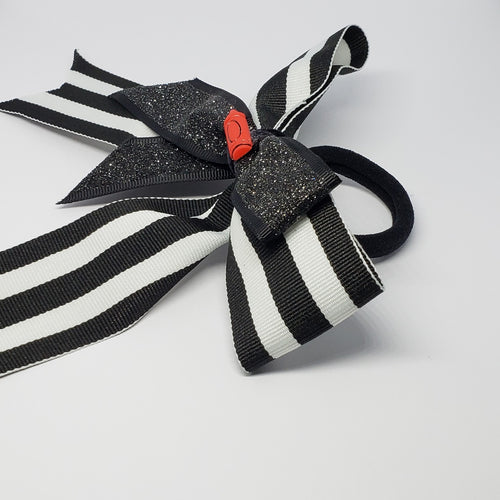 Cassidy-Dior Uniform Cheer Style Bow in Black, White & Red - Houzz of DVA Boutique
