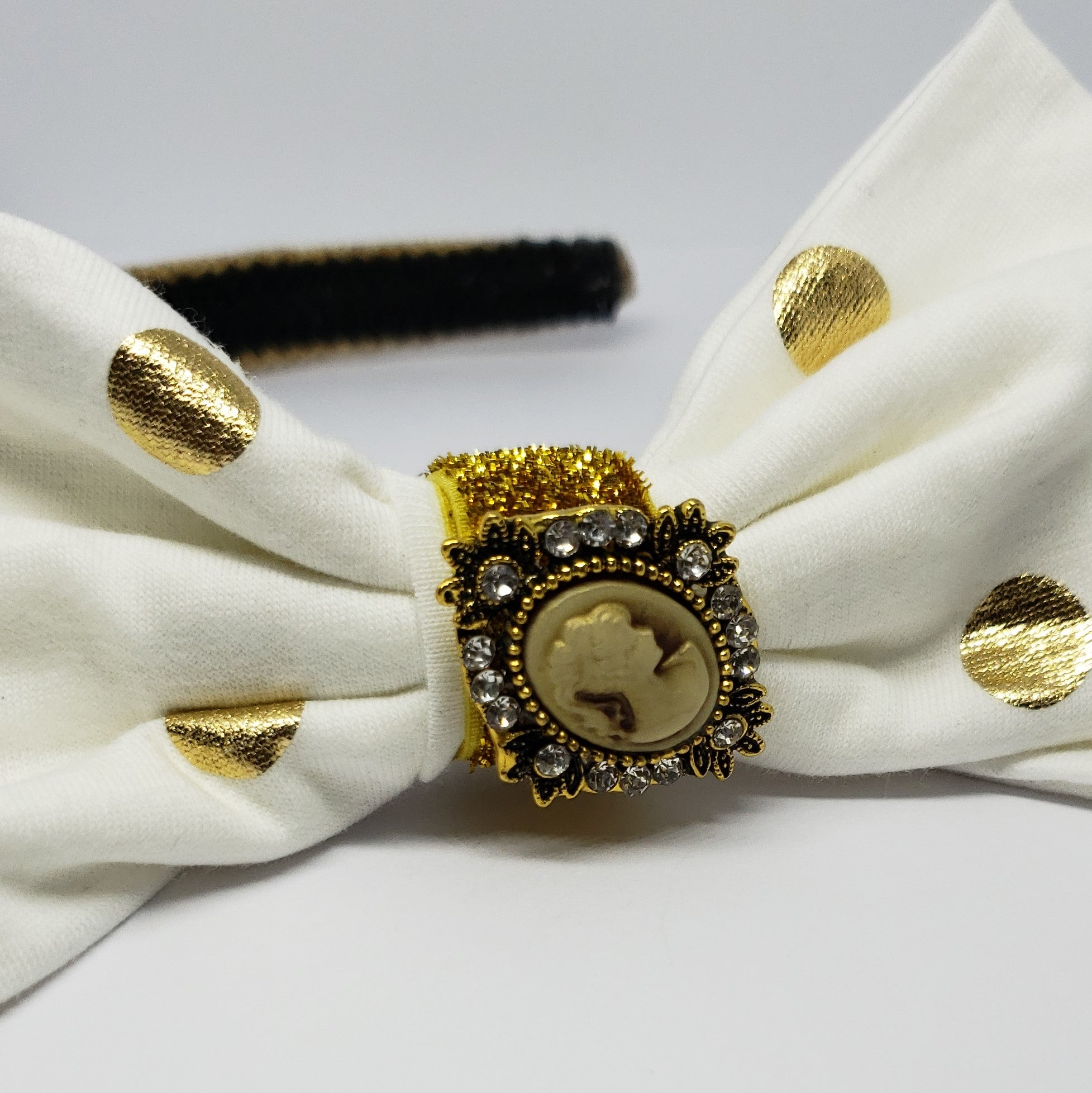 N-Zala Cream & Gold Cameo Headband - Houzz of DVA Boutique