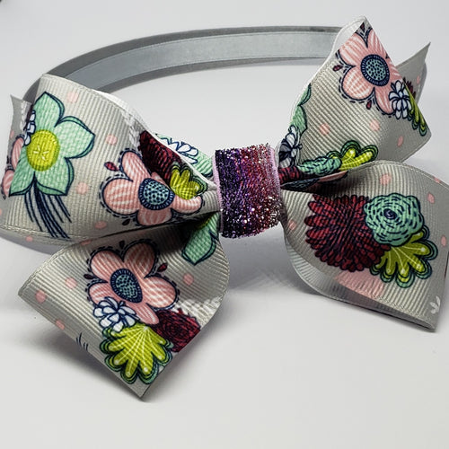 Cassidy-Dior Grey Flower Multi & Sparkle Purple Rainbow Headband - Houzz of DVA Boutique