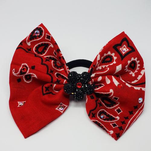 Erica Fancy Swarovski Bandanna Hair Bow in Red, Black & White - Houzz of DVA Boutique