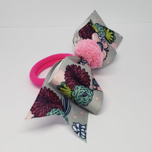 Sarai Fuchsia Pink Pompom & Grey Multi Floral Bow - Houzz of DVA Boutique