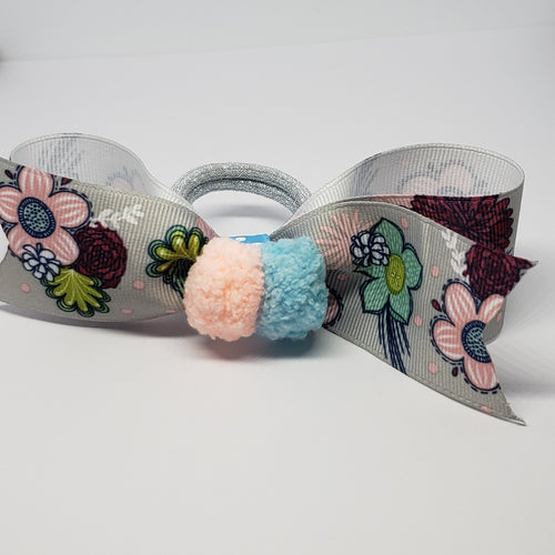 Cassidy-Dior Pompom in Peach, Light Blue & Grey Flower Multi Hair Bow - Houzz of DVA Boutique