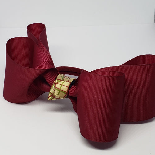 Sophia-Lynn Uniform Bow in Maroon & Cream Plaid Detail - Houzz of DVA Boutique