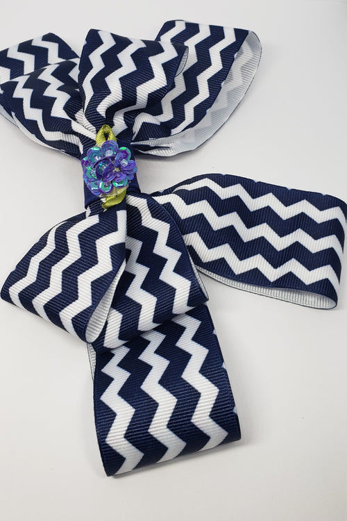 Zoe` Hairclip in Navy & White Flower Detail - Houzz of DVA Boutique