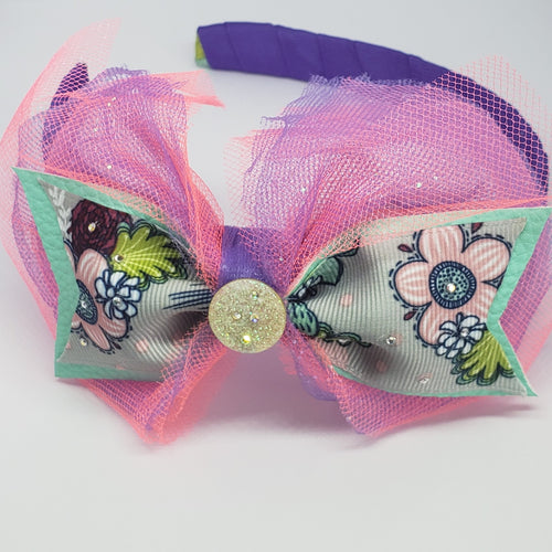 Zyilaya Girls Just Wanna Have Fun Swarovski & Purple Tulle Multi Headband - Houzz of DVA Boutique