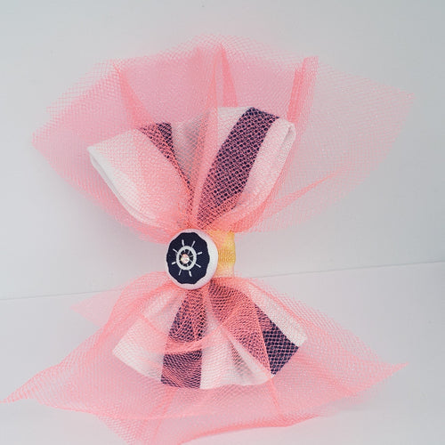 Sarai Swarovski Hair Clip in Bright Coral, Yellow, Navy &White - Houzz of DVA Boutique