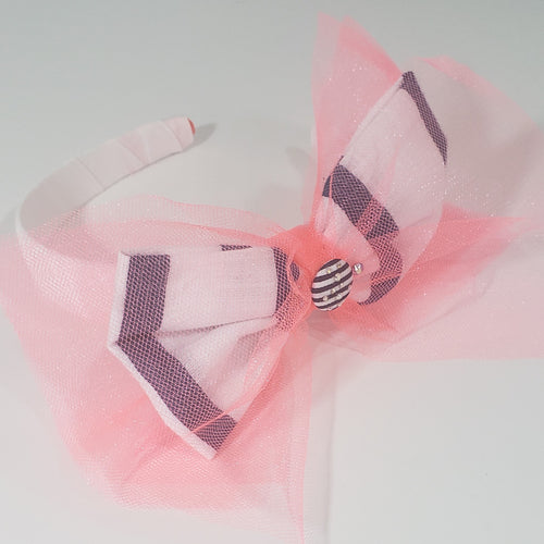 Zyilaya Nautical Twist Swarovski Headband in Bright Coral, Navy &White - Houzz of DVA Boutique