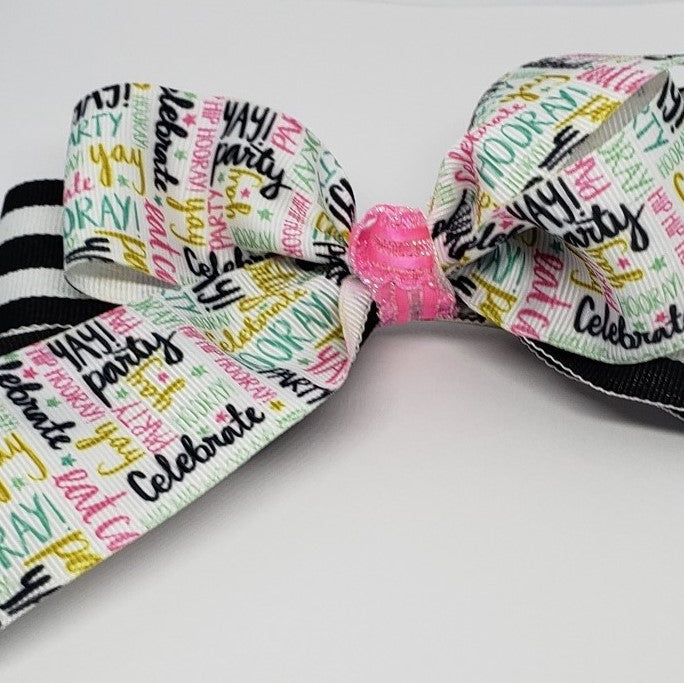 MiAmor The Party Starts Here Fuchsia Black & White Multi Bow - Houzz of DVA Boutique