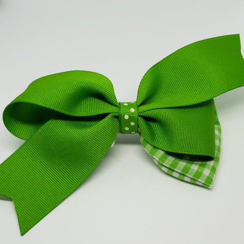 Cassidy-Dior Summer Gingham Bow in Bright Green/White - Houzz of DVA Boutique