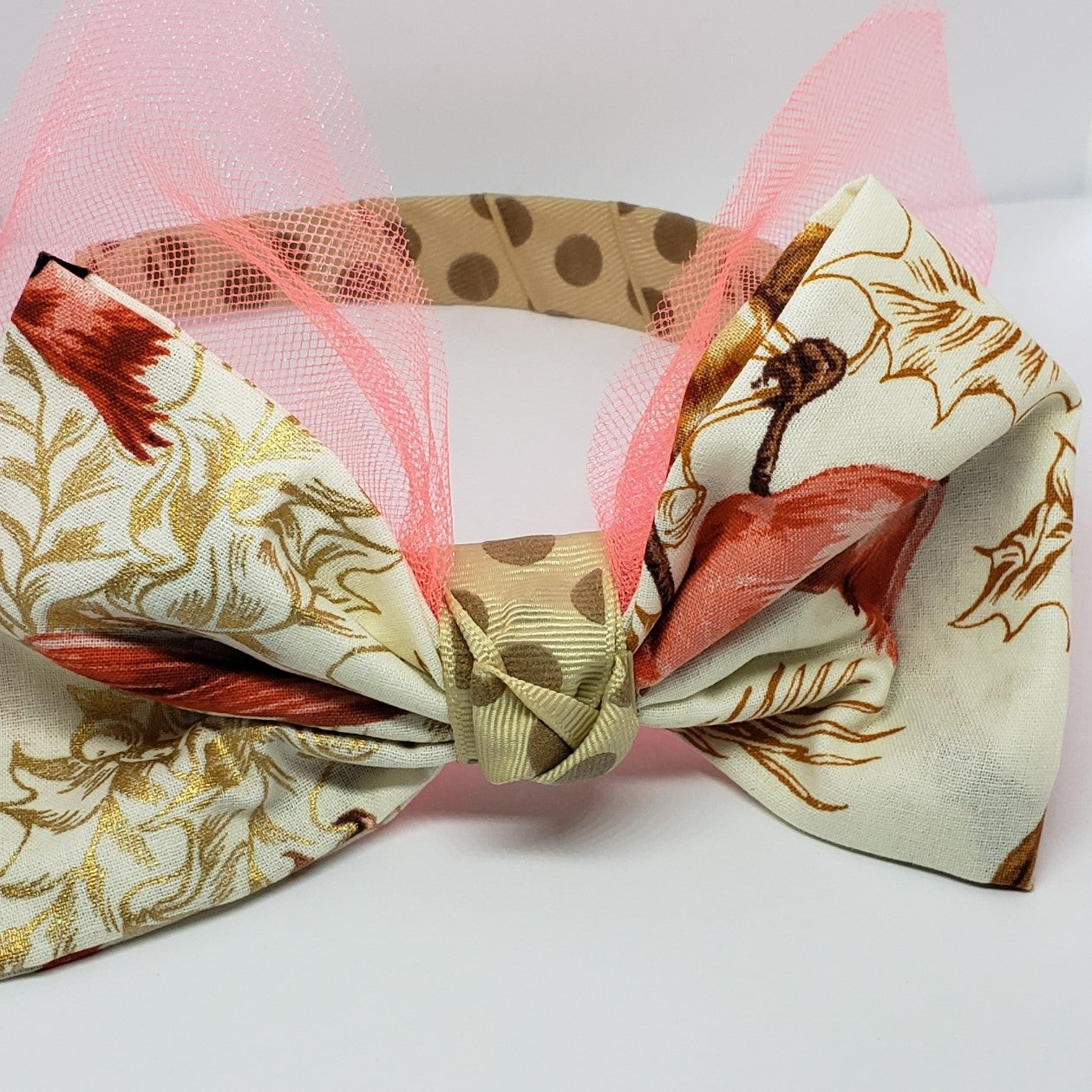 N-Zala Shades of Fall Headband in Taupe & Bright Coral - Houzz of DVA Boutique