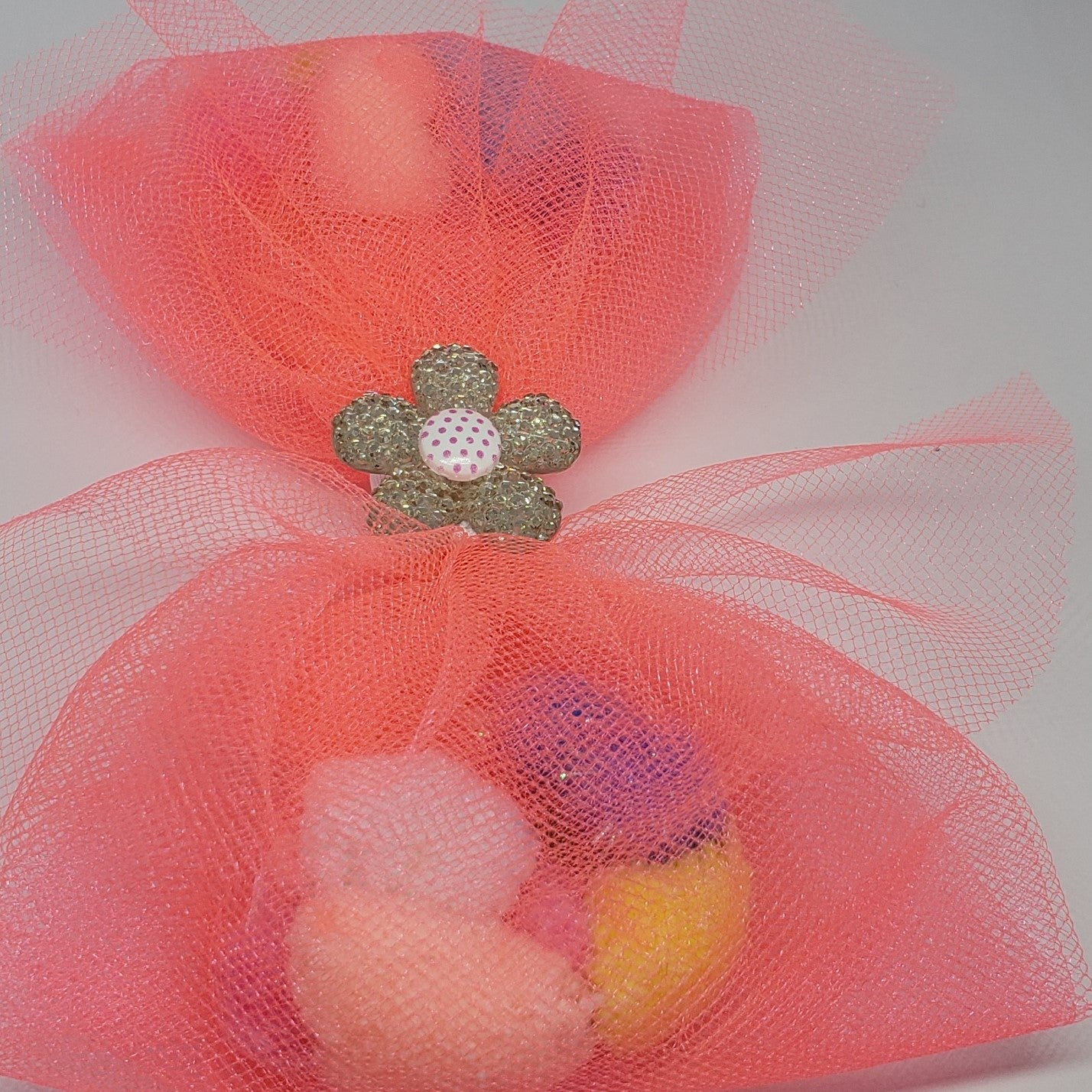N-Zala Pompom Paradise Bow in Bright Coral Tulle & White Polka Dot Ribbon Detail - Houzz of DVA Boutique