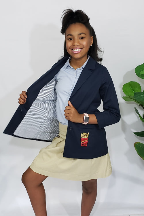 She's Royal in Navi Preppy Lightweight Blazer with Fancy Patchwork - Houzz of DVA Boutique