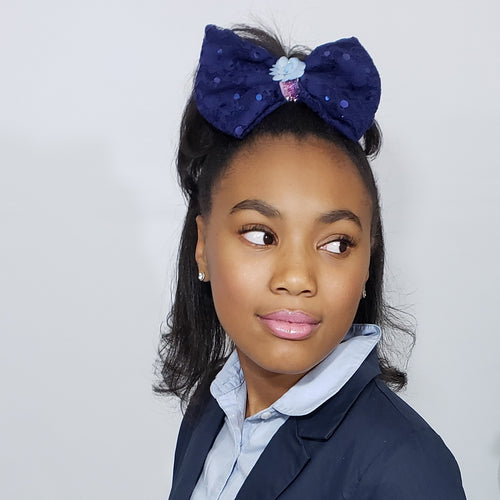 Sophia-Lynn Periwinkle & Navy Fancy Lace Bow - Houzz of DVA Boutique