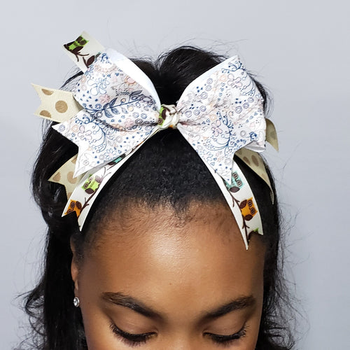 Kelsea Elements of Fall Hair Bow in Cream & Navy Multi Floral - Houzz of DVA Boutique