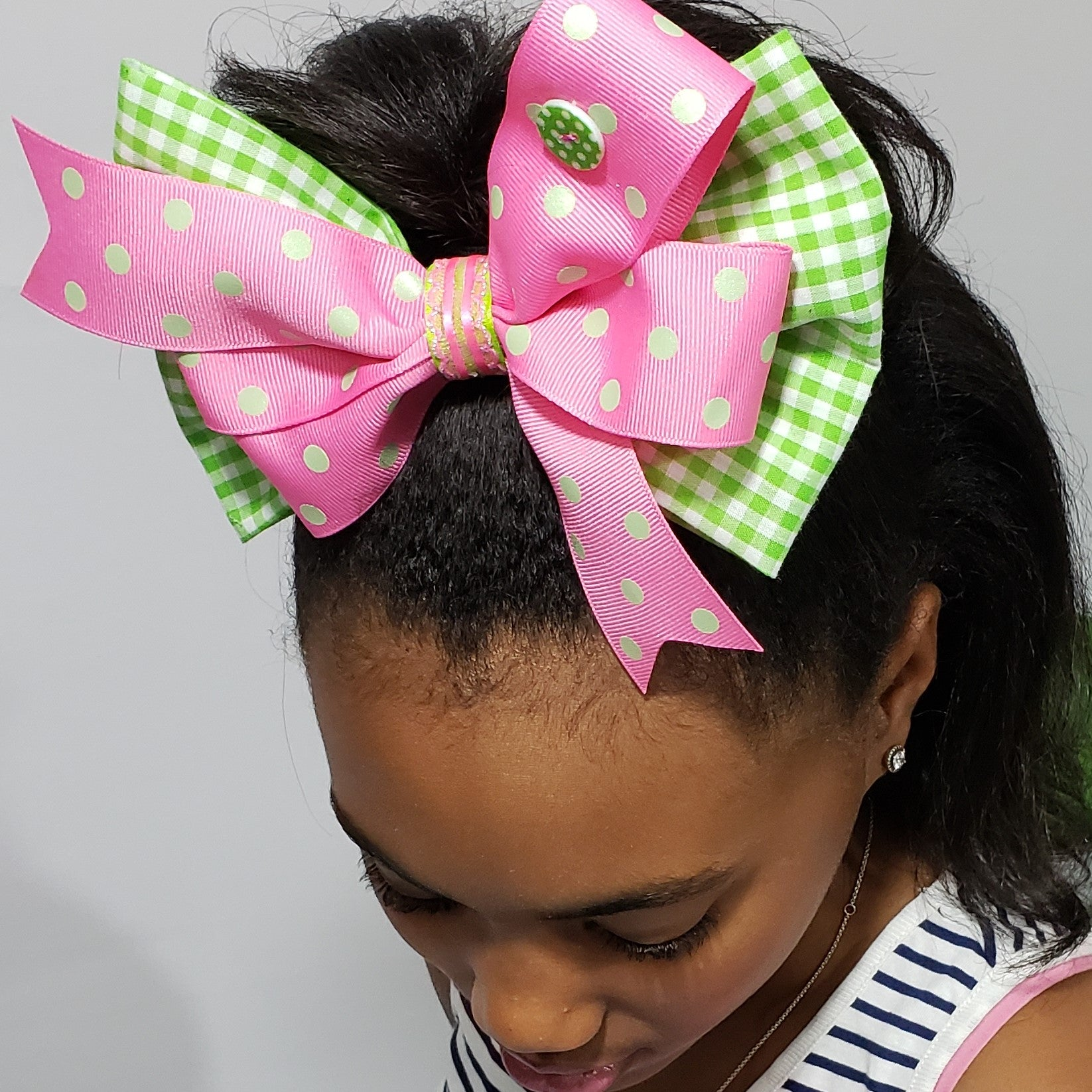 Danielle Gingham & Dots Pink, Green & White Bow - Houzz of DVA Boutique
