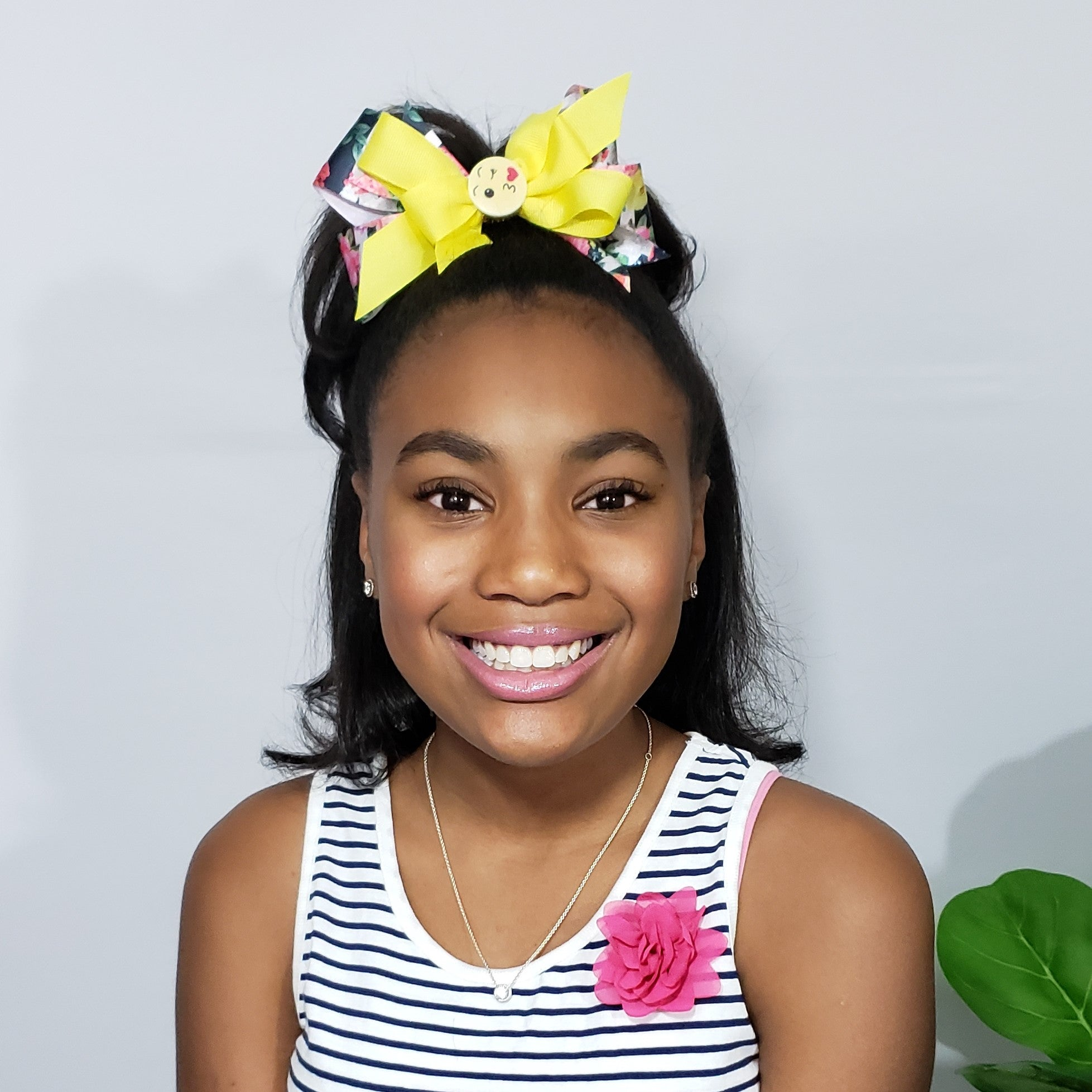 Mia Sunshine & Kisses Yellow Multi Floral Bow - Houzz of DVA Boutique