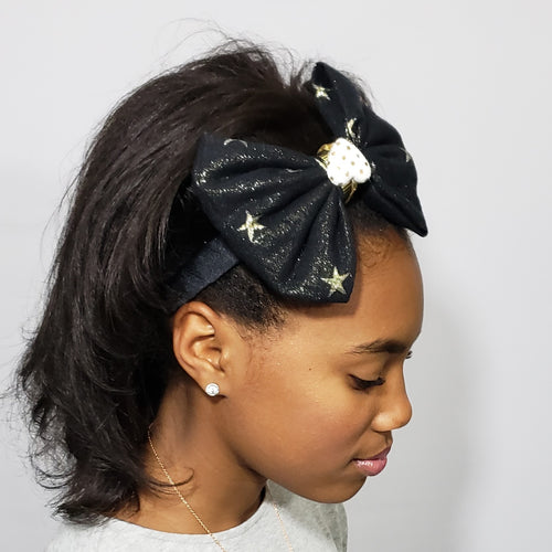 Mia Under the Stars Black, Cream & Gold Headband with Braided Leather Detail - Houzz of DVA Boutique