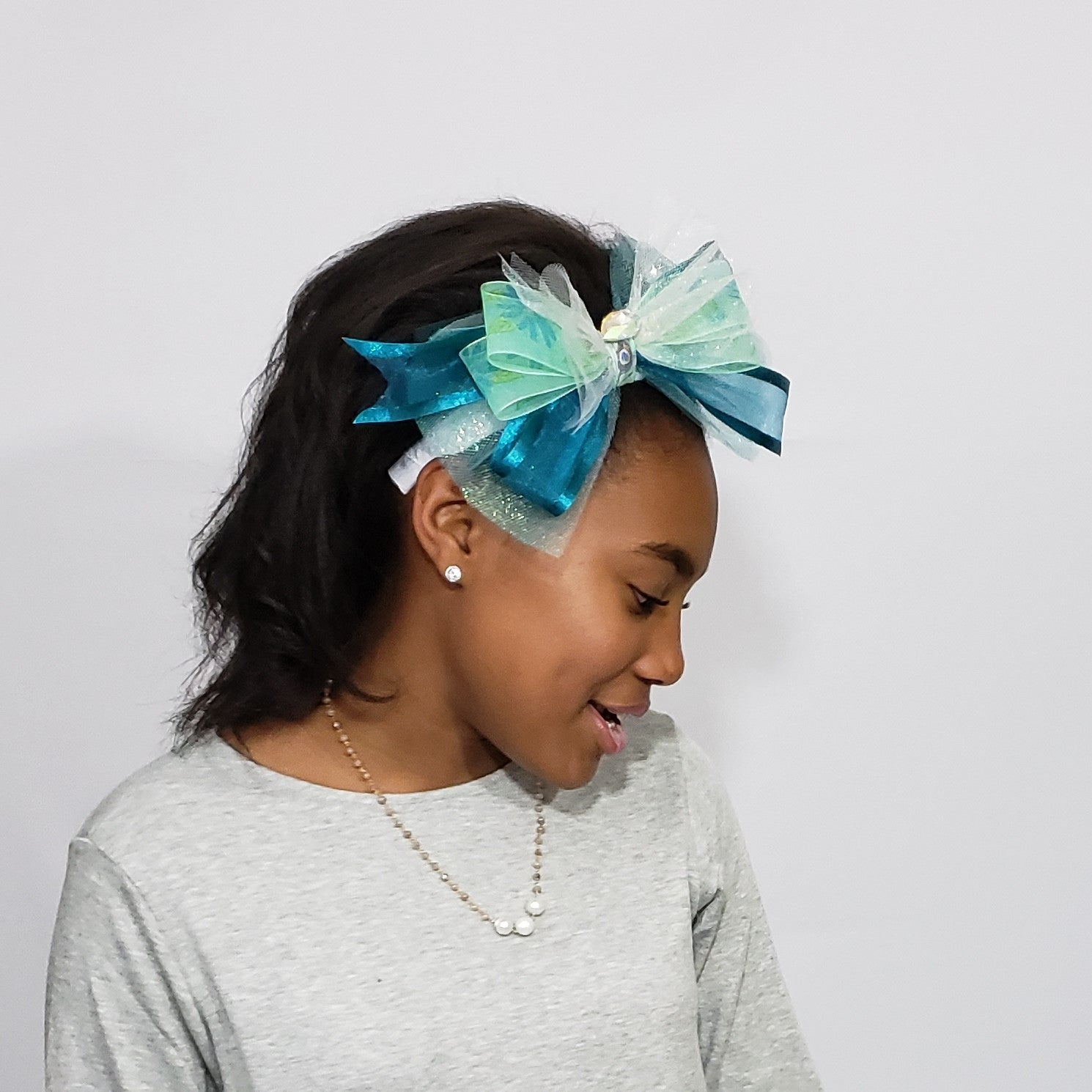 N-Zala Swarovski Peacock Ribbons & Tulle Headband in Teal Green & White - Houzz of DVA Boutique