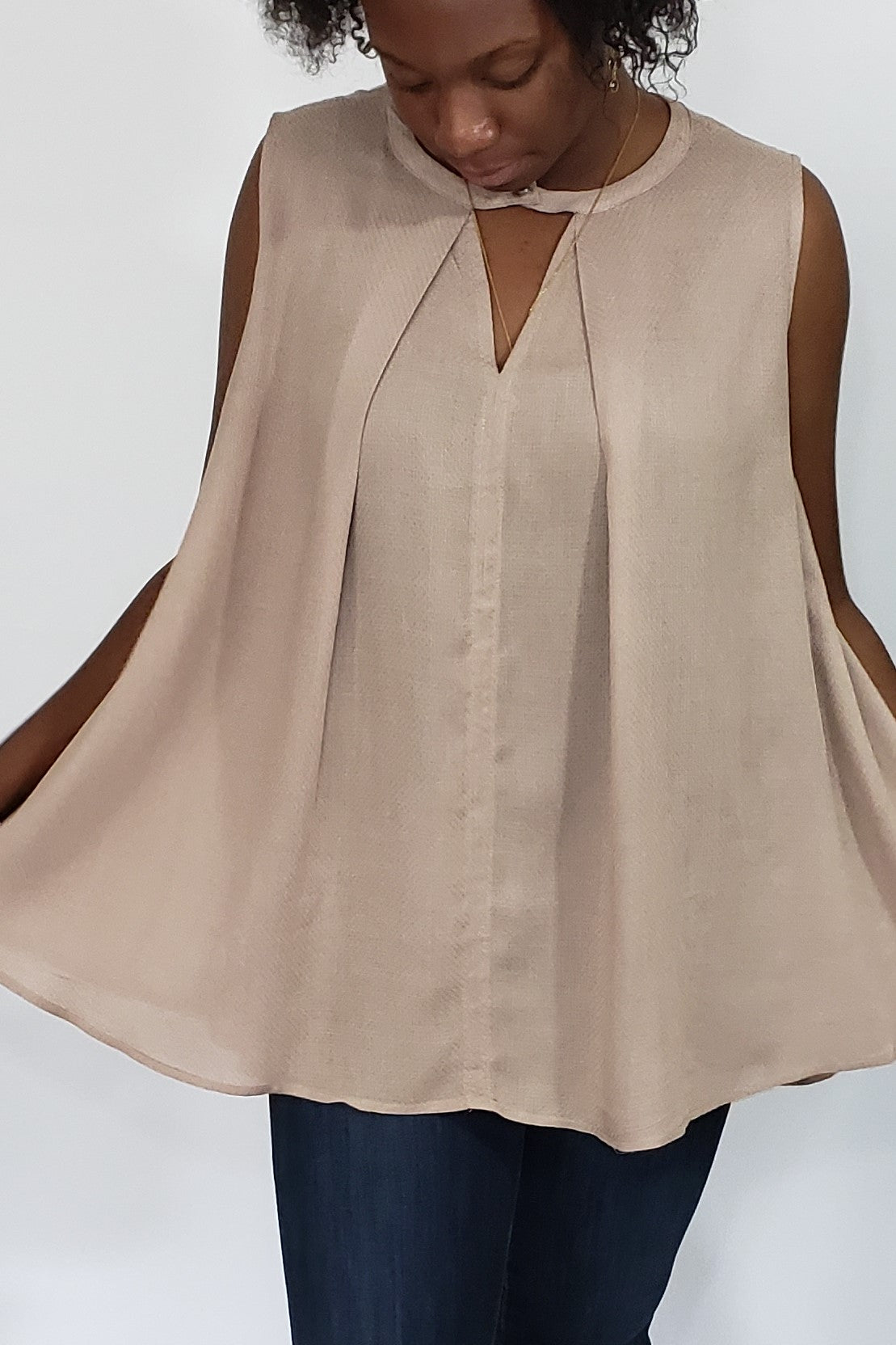 Sarah-Lyn Sleeveless Pleated Keyhole Blouse in Mocha - Houzz of DVA Boutique