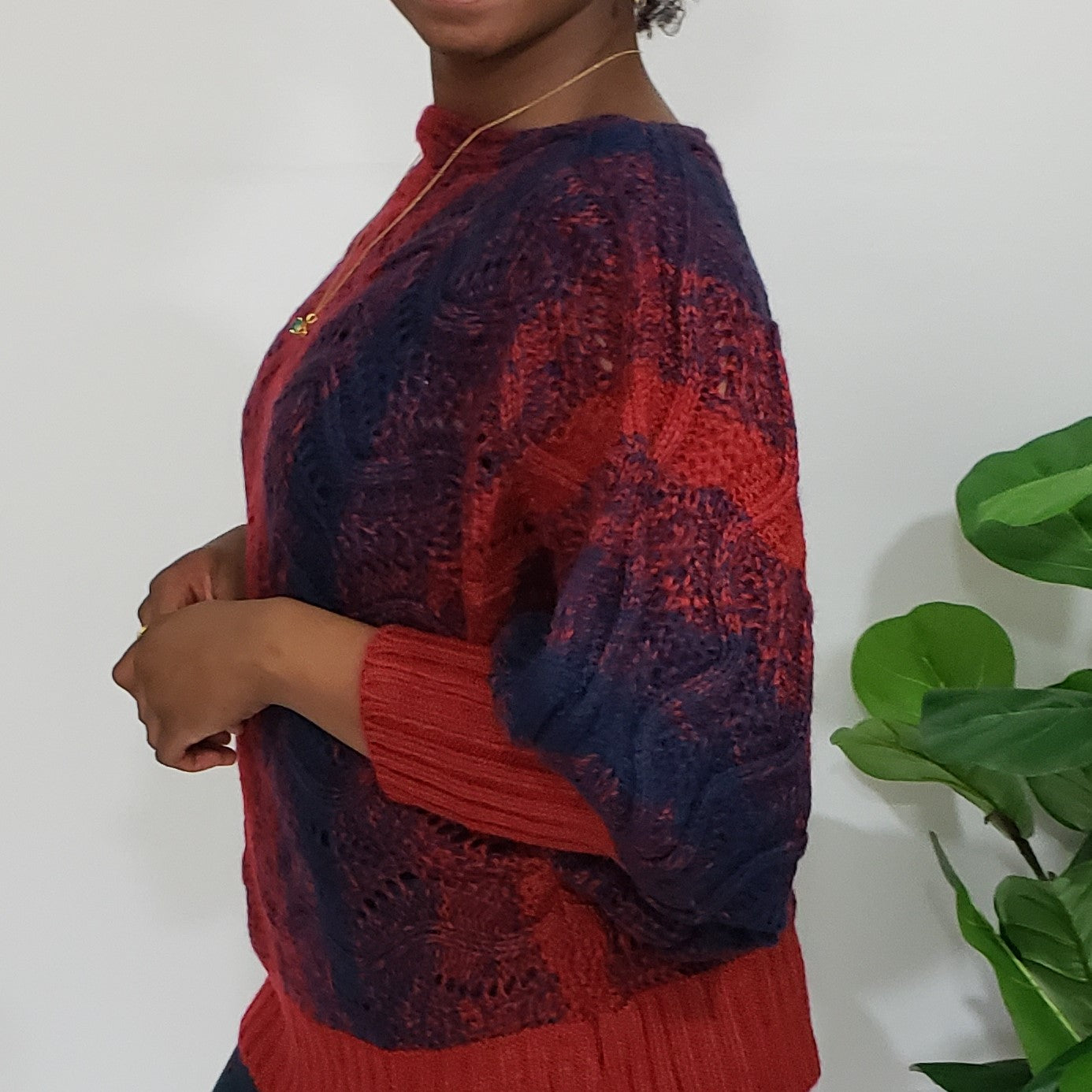 Gabrielle Rich Red & Navy Boatneck Knit Sweater in Plus - Houzz of DVA Boutique